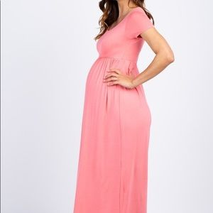 PinkBlush Pink Short Sleeve Maxi Maternity Dress